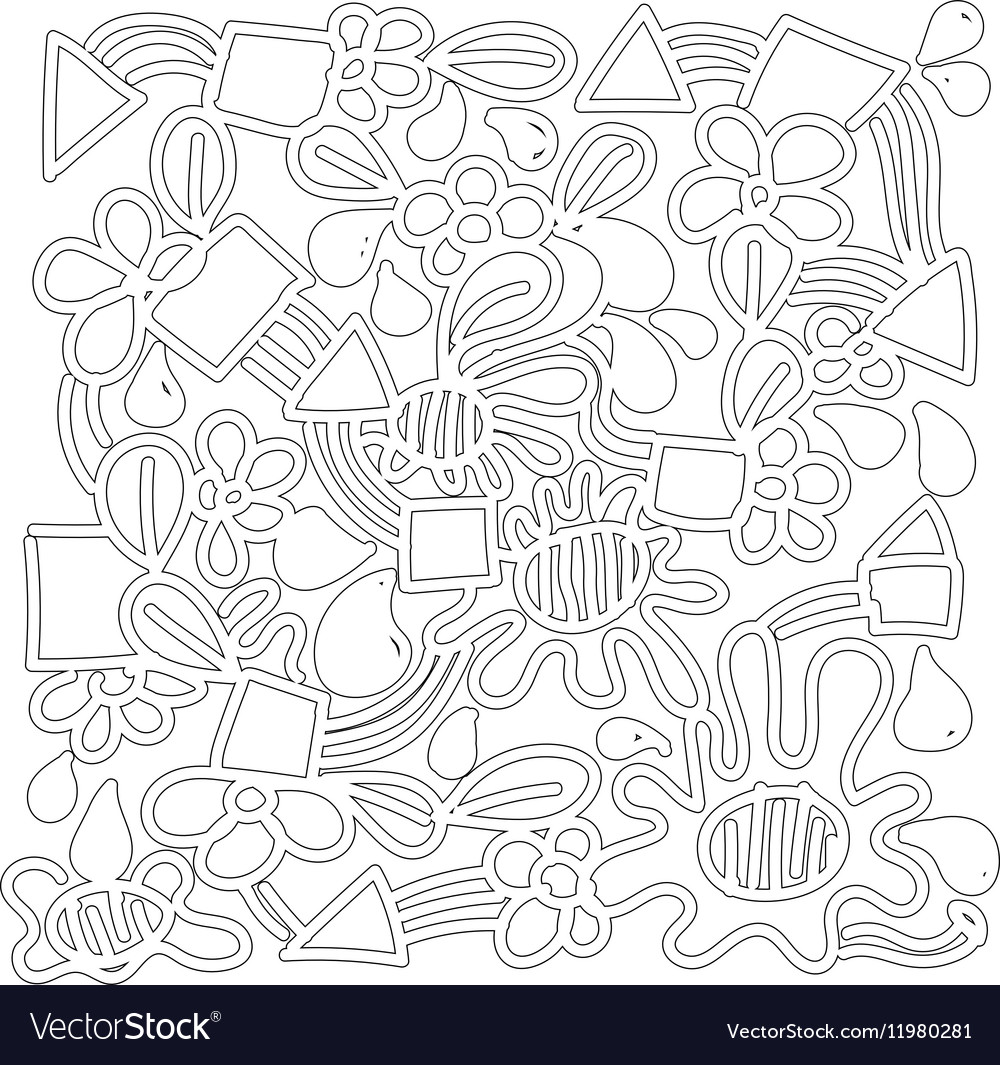 Doodle abstract background plant concept vector image