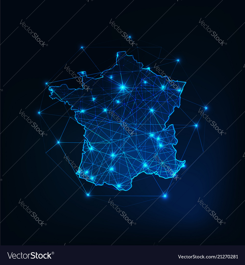 France map outline with stars and lines abstract