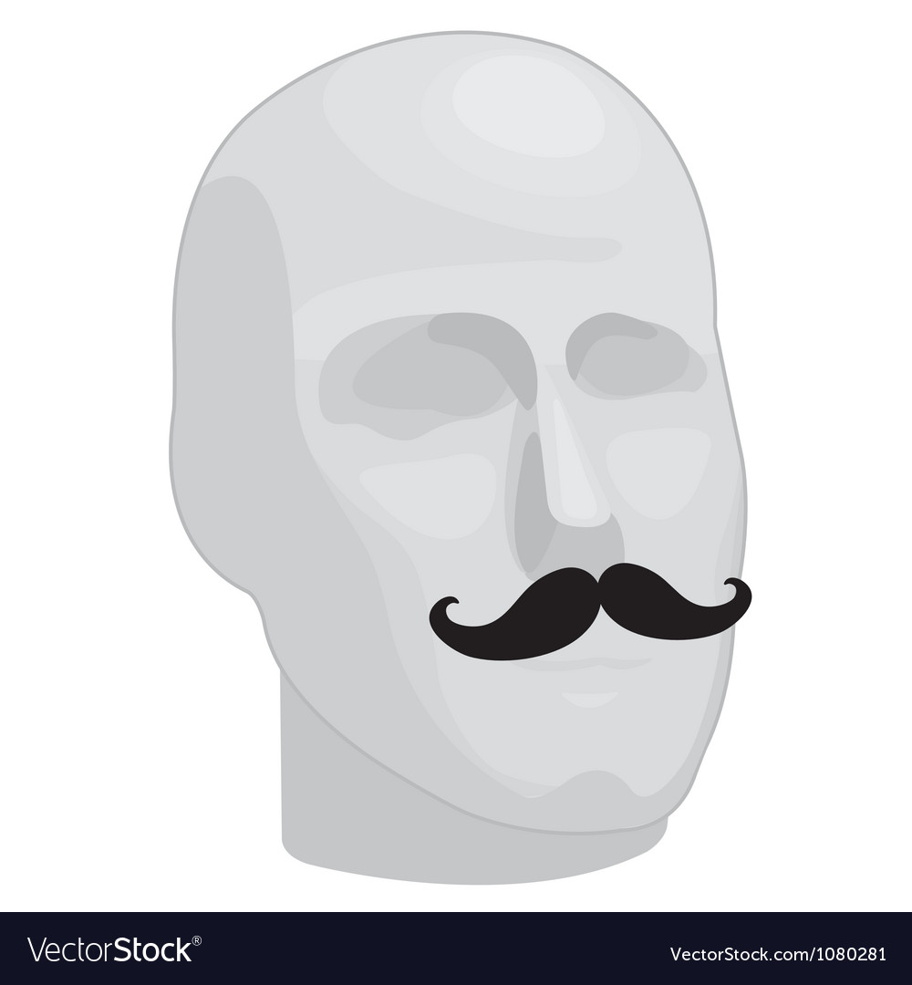 Male head with mustache vector image
