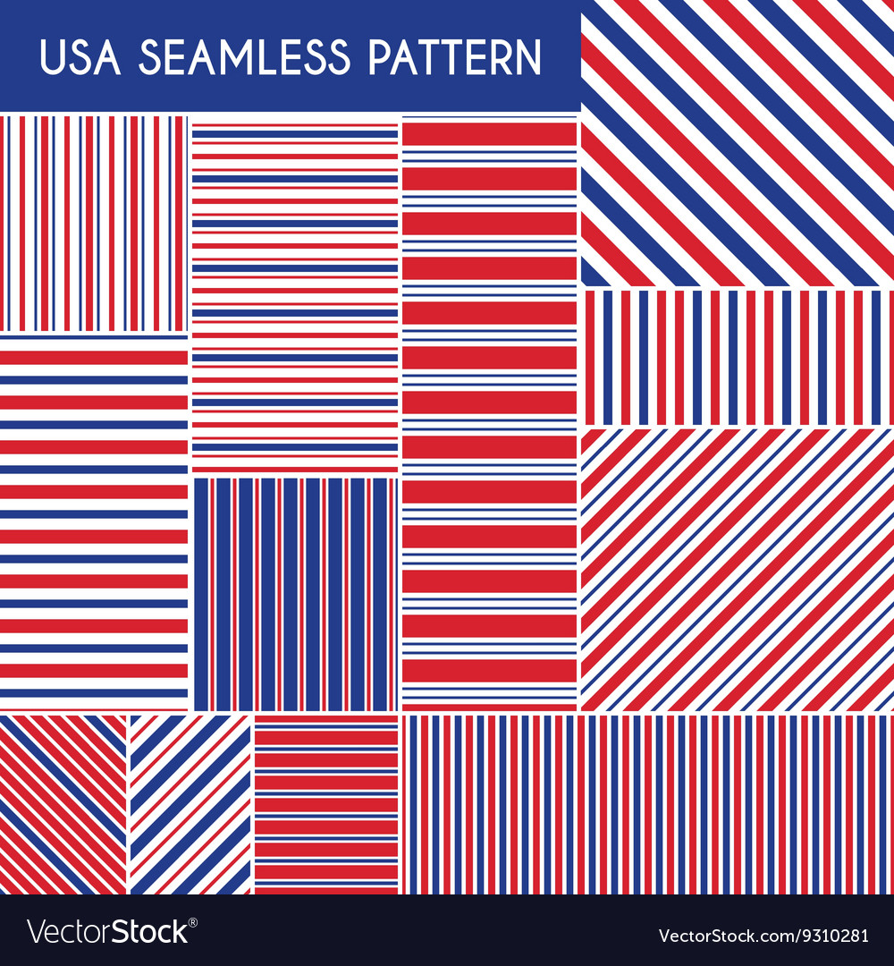 Patriotic red white blue geometric seamless
