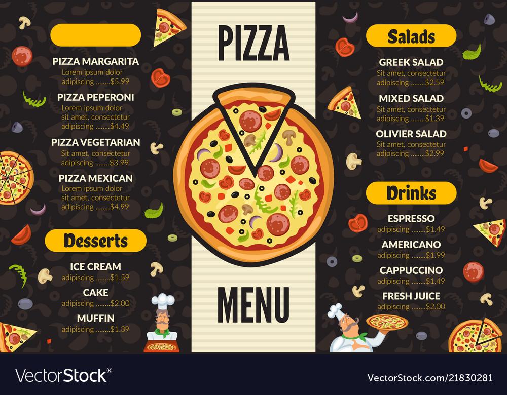 Pizzeria menu template italian kitchen cuisine