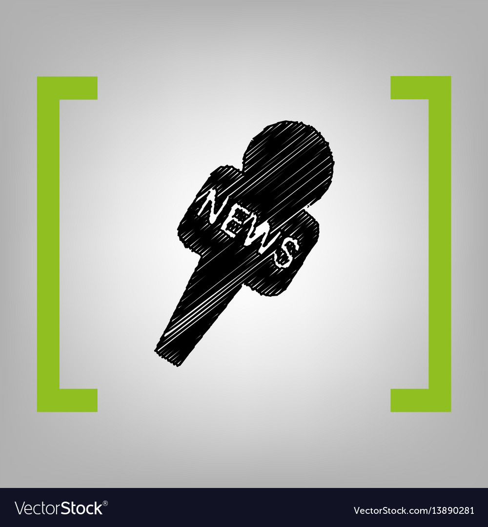 Tv news microphone sign vector image