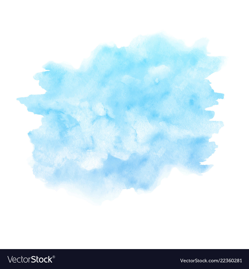 Watercolor blue paint texture isolated on white