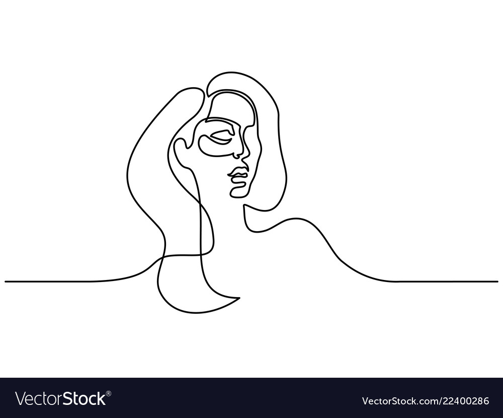 Abstract portrait of young woman continuous line