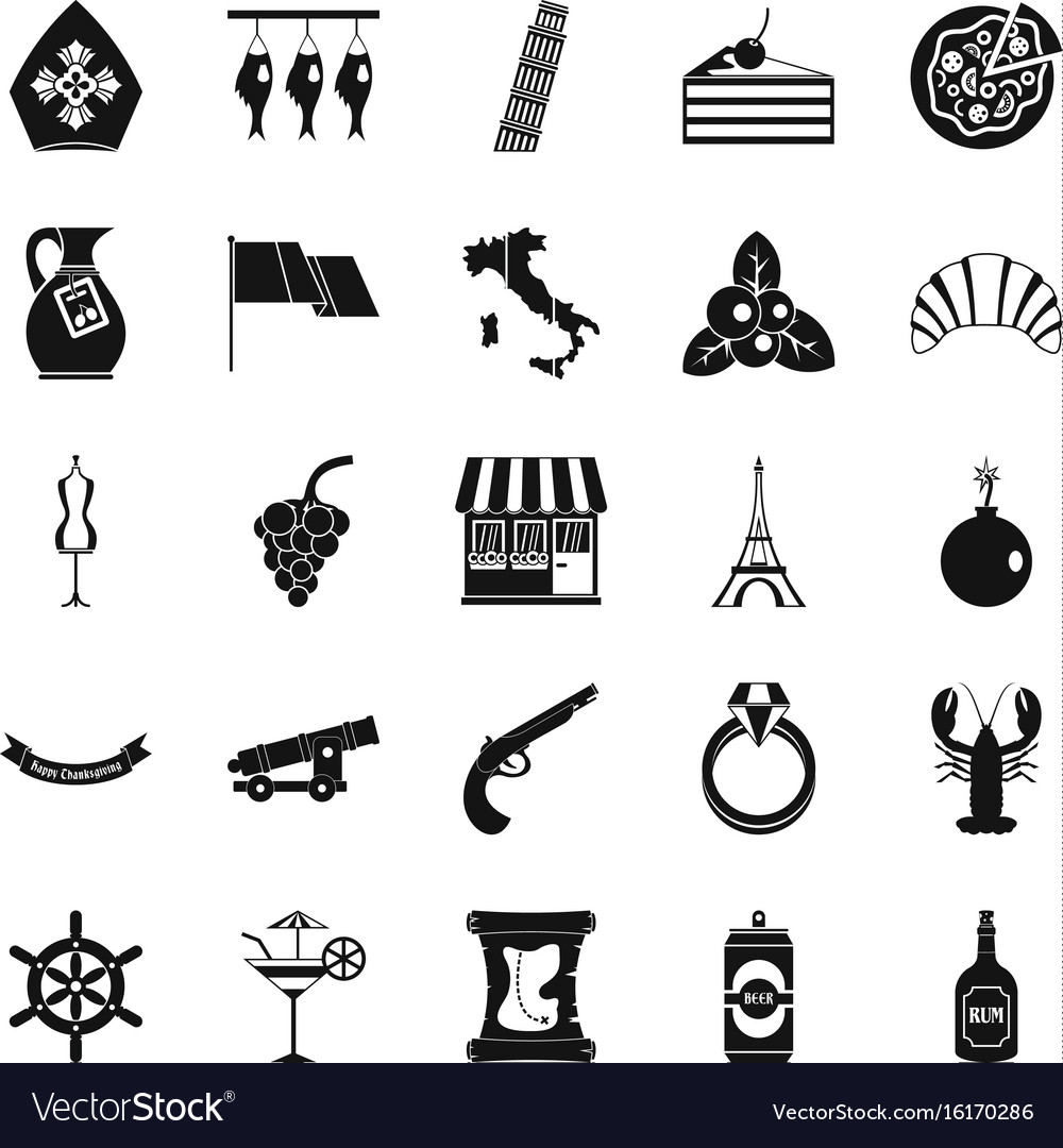 Alcohol icons set simple style