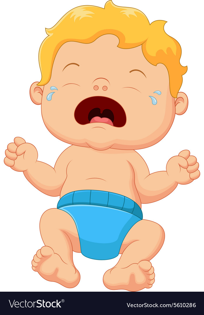 Cartoon little baby crying