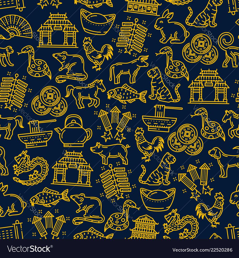 Chinese new year zodiac seamless pattern
