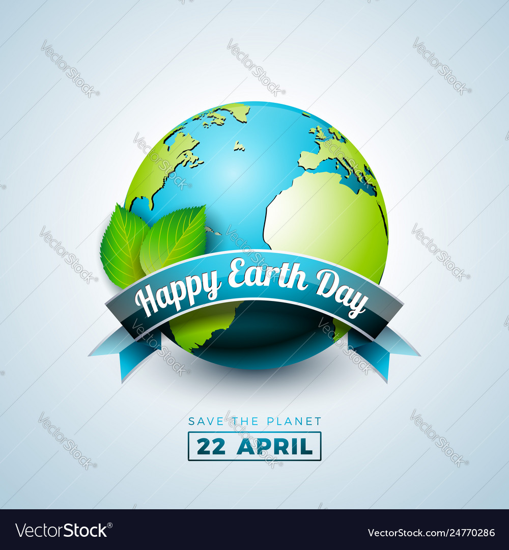 Earth day with planet and green leaf