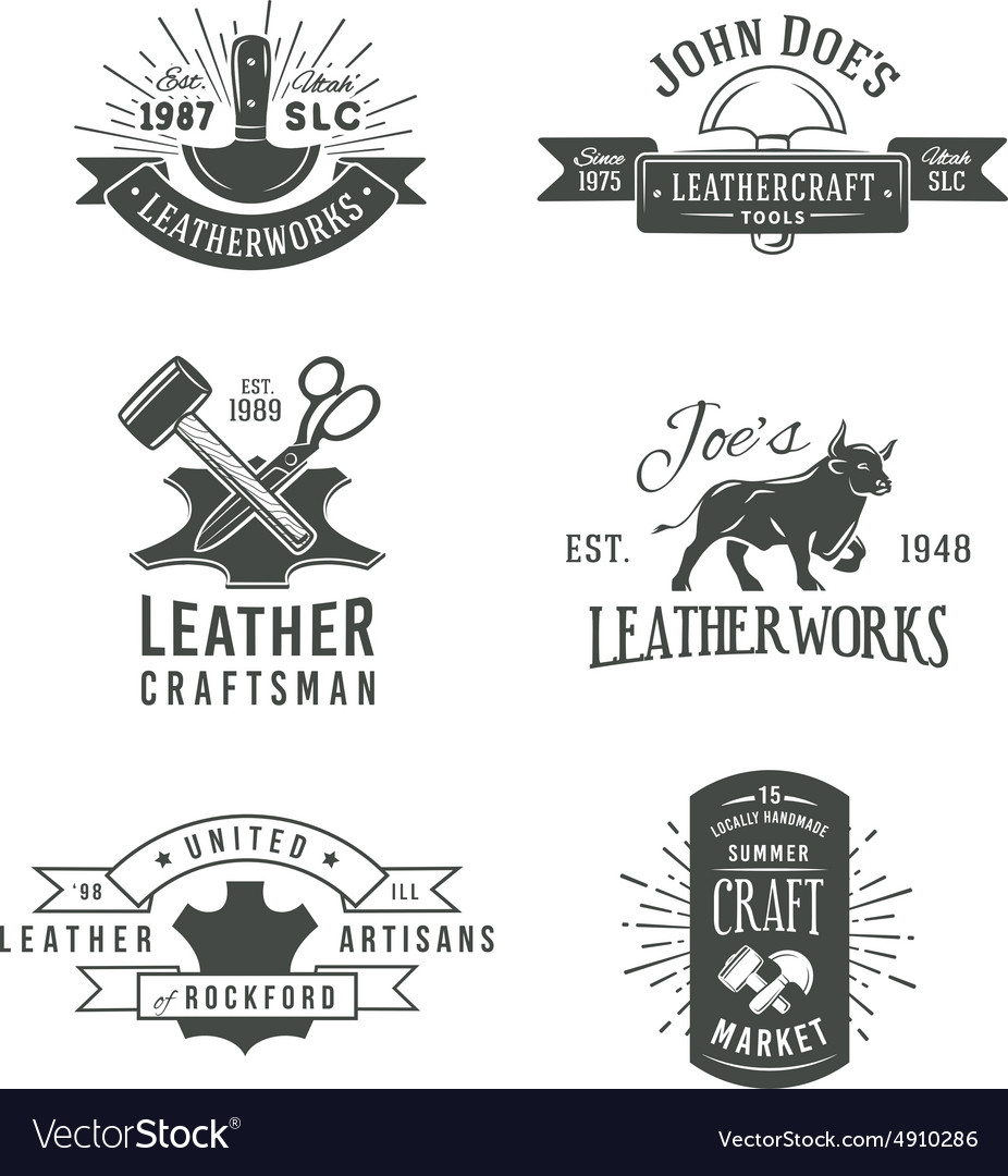 First Set Of Grey Vintage Craft Logo Royalty Free Vector