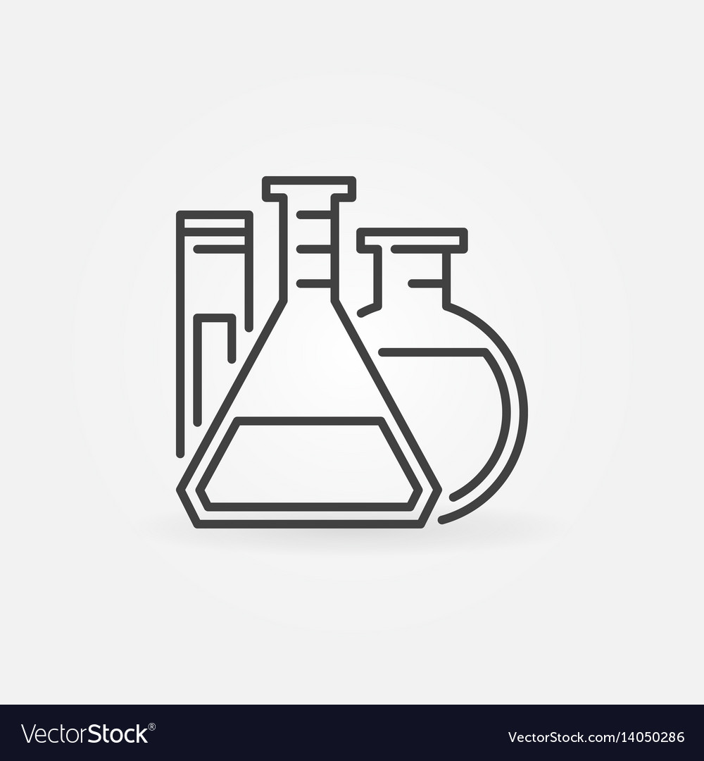 Laboratory glassware outline icon vector image