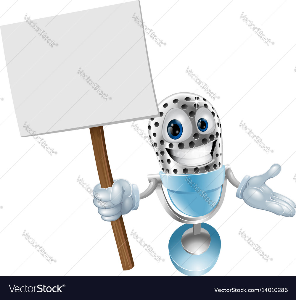 Microphone character with sign