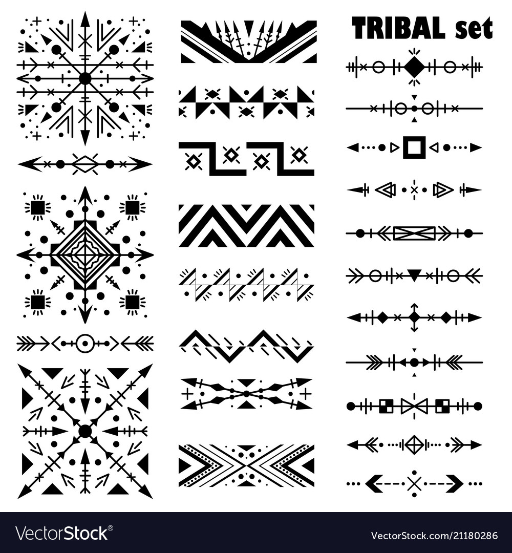 Monochrome modern set brush set in tribal style