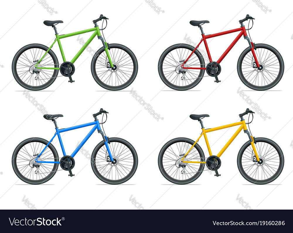 Mountain bike or urban bike isolated on white vector image