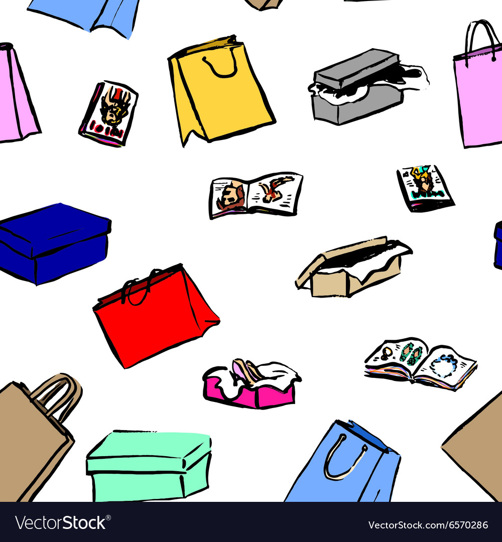 Seamless background with gift boxes and shopping