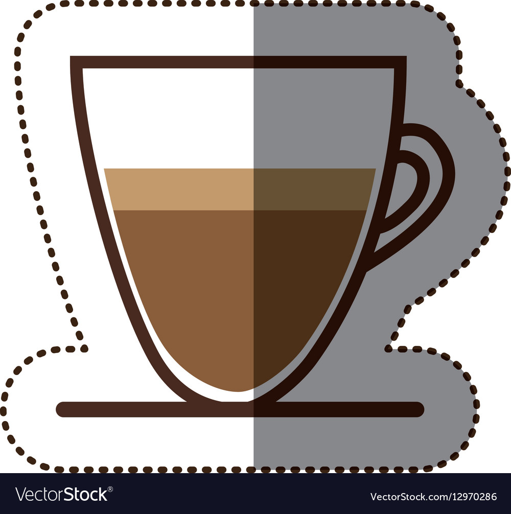 Silhouette color sticker with coffee cup close up