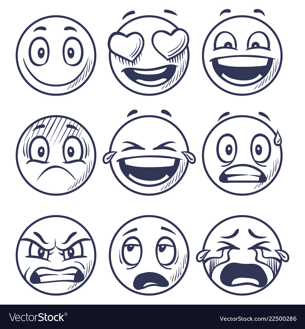 Sketch smiles doodle smiley in different emotions