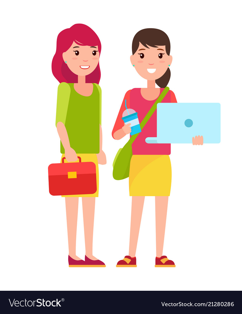 Two students girls in cartoon style smiling woman