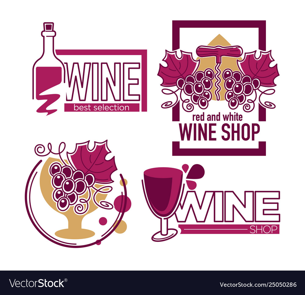 Wine store or shop isolated icons grape bunch and