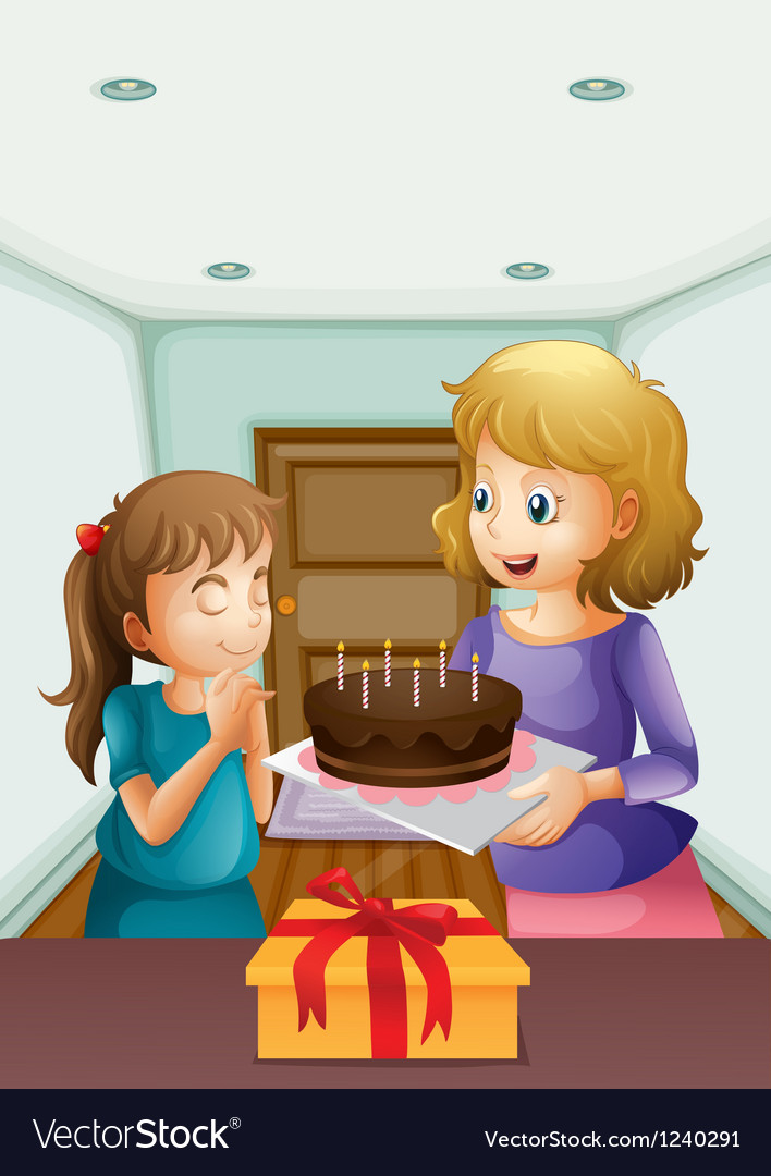A girl wishing before blowing her birthday cake