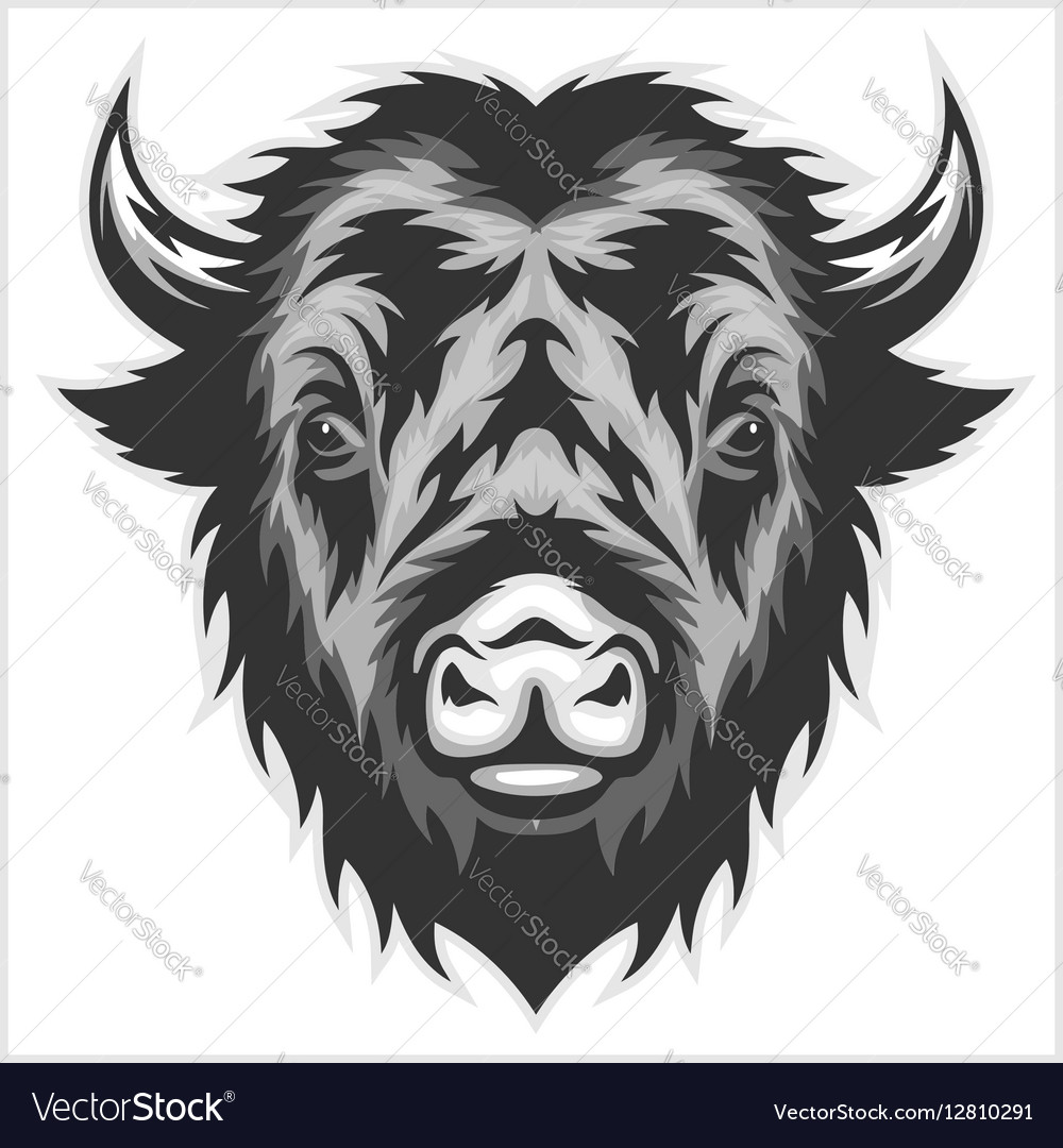 Bison mascot head Black and white