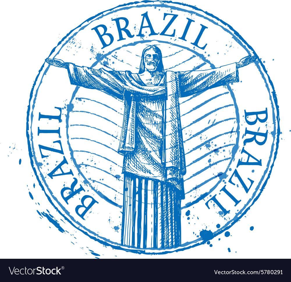 Brazil logo design template Shabby stamp
