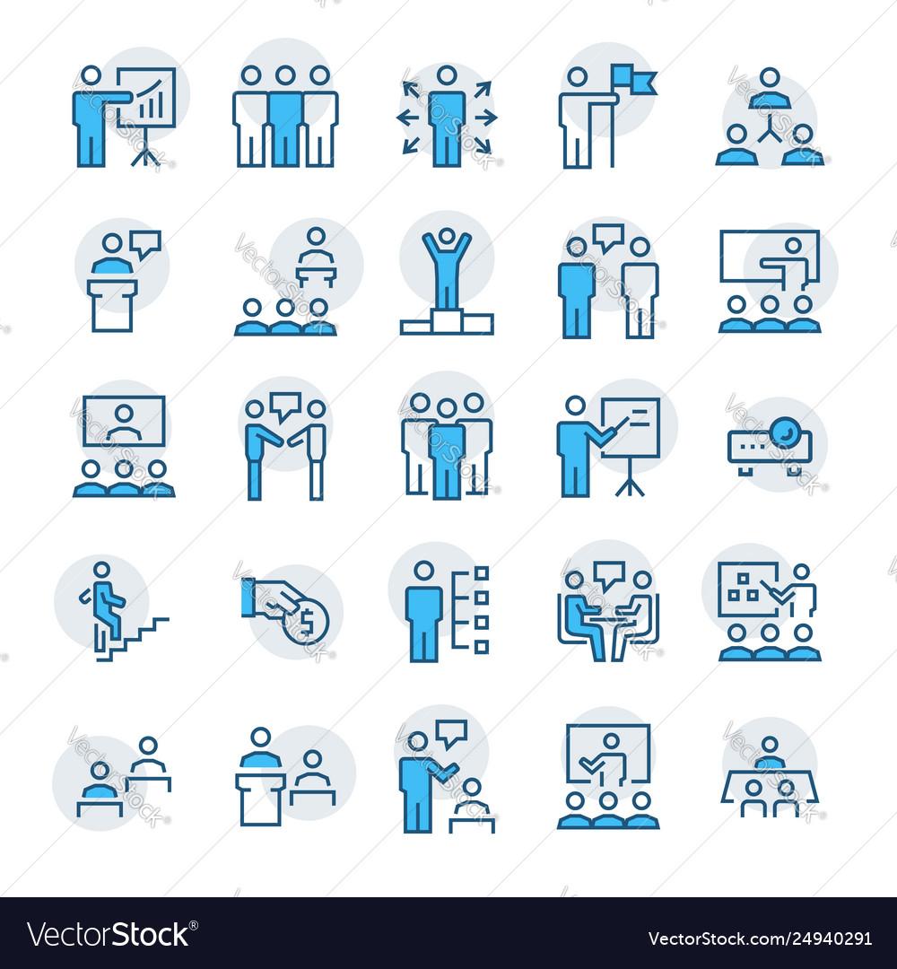 Business peoplepresentationtraining icon set in