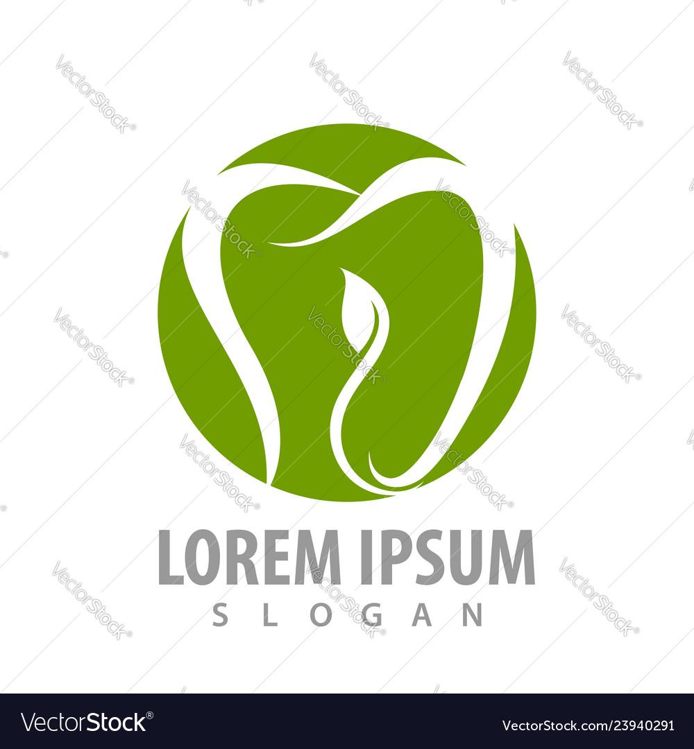 Circle tooth leaves logo concept design symbol