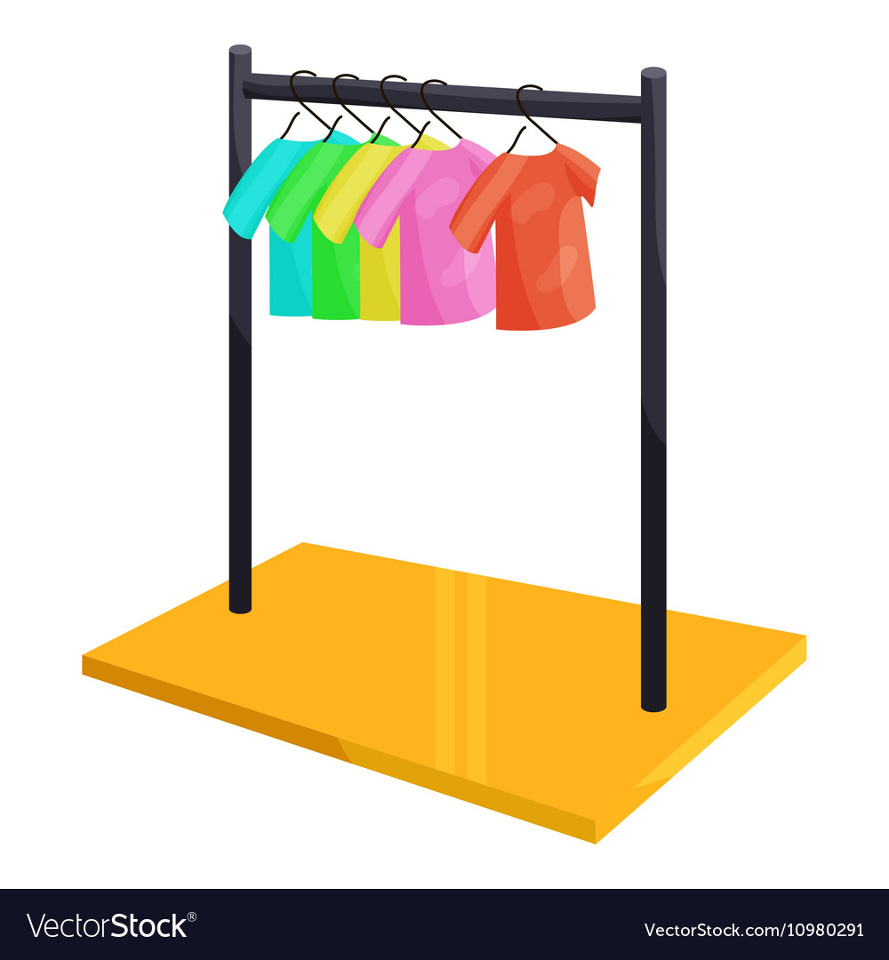 Clothes hanging on the rack icon cartoon style vector image