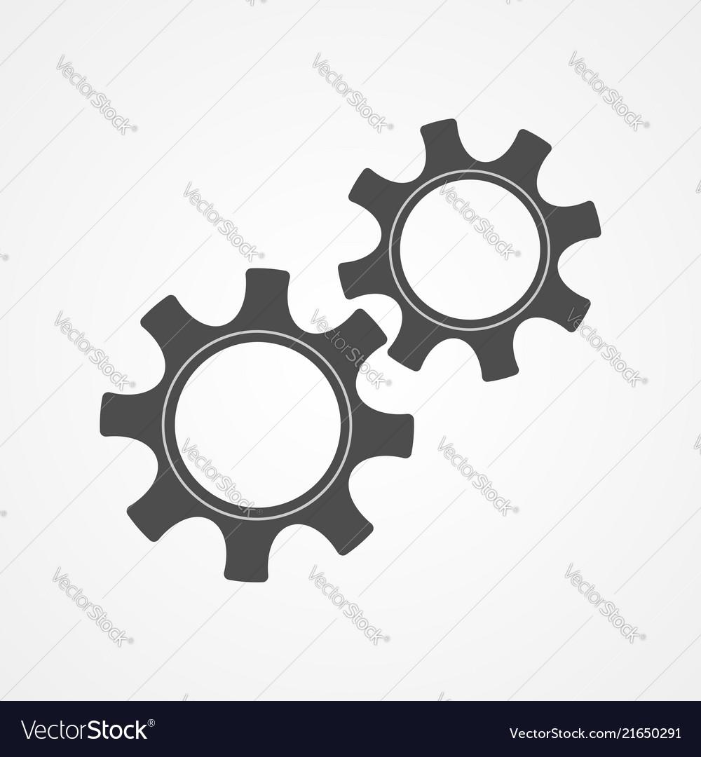 Cooperation concept black contour cog and gear