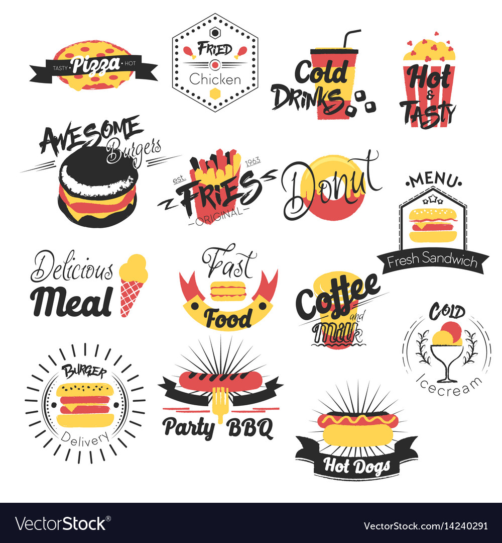 Fast food hand drawn logos