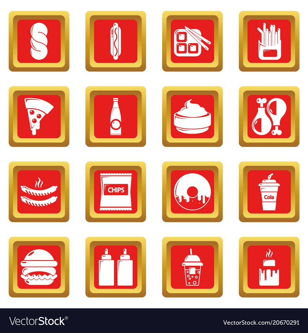 Fast food icons set red square