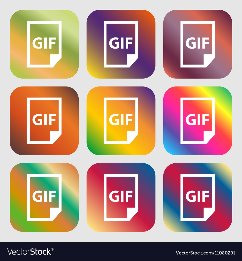File GIF icon Nine buttons with bright gradients vector image