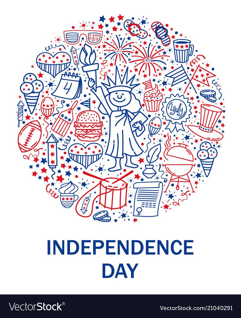 Happy fourth july card hand drawn decoration