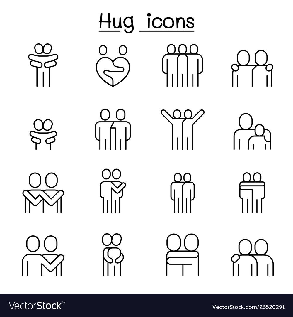 Lover hug friendship relationship icon set in