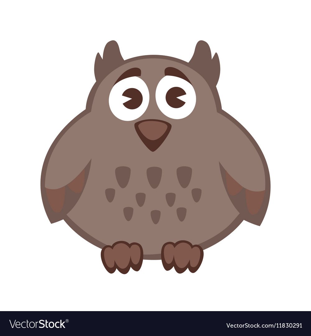 Owl funny cartoon character Cute icon
