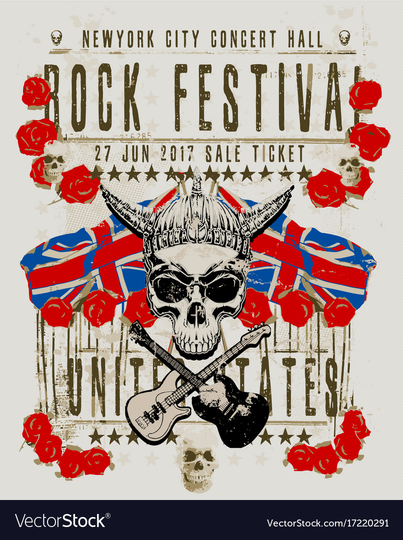 Poster for a rock music festival with skull and