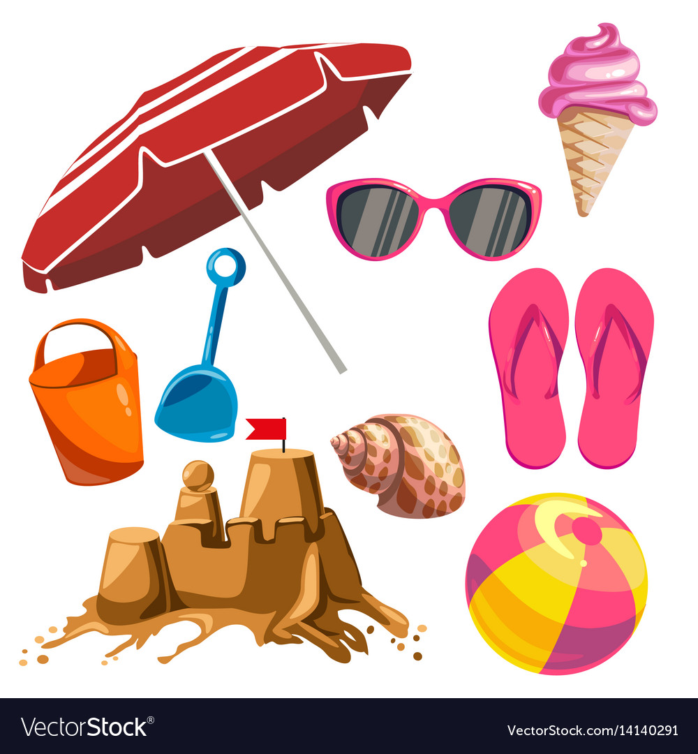 Set of summer things vector image