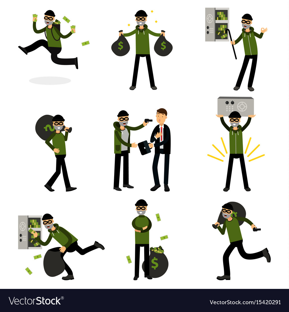 Sneaking thiefs set burglars committing crimes vector image