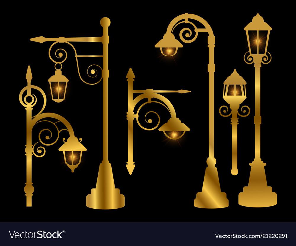 Street lamp road lights golden