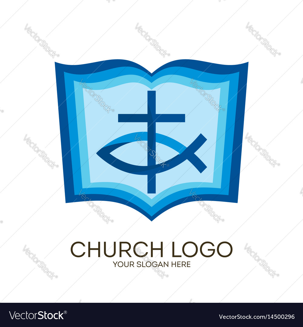 Bible Cross And Jesus Fish Royalty Free Vector Image