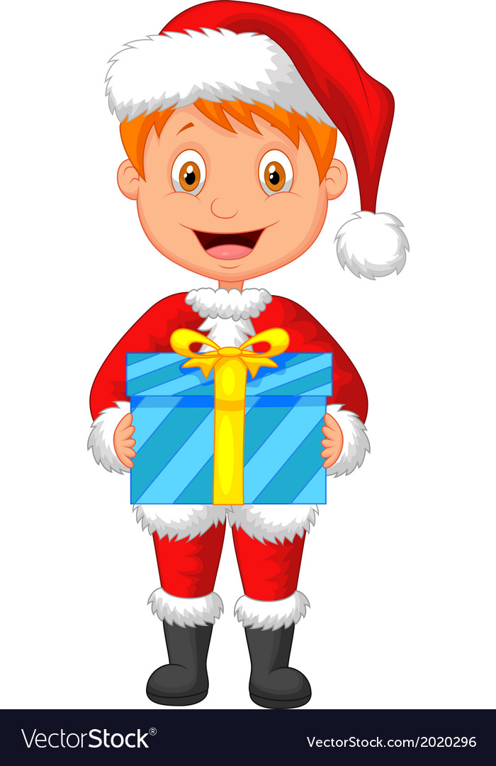 Cartoon a boy in red clothes holding gift