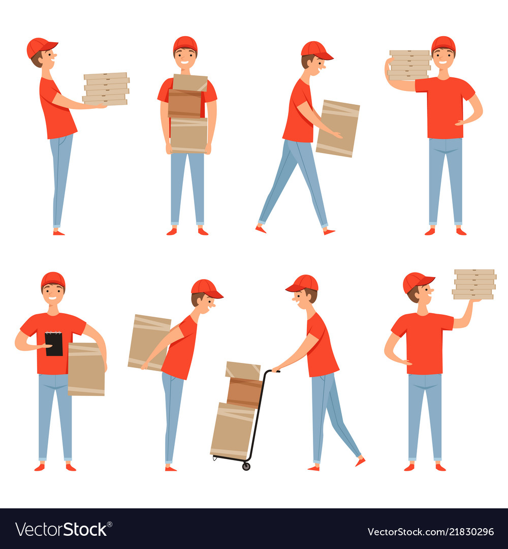 Delivery characters pizza food packages loader