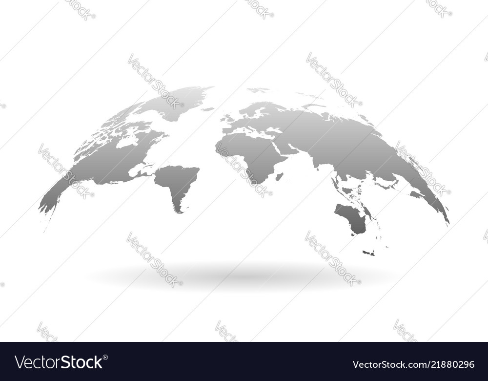 Earth planet icon in flat style 3d world map on