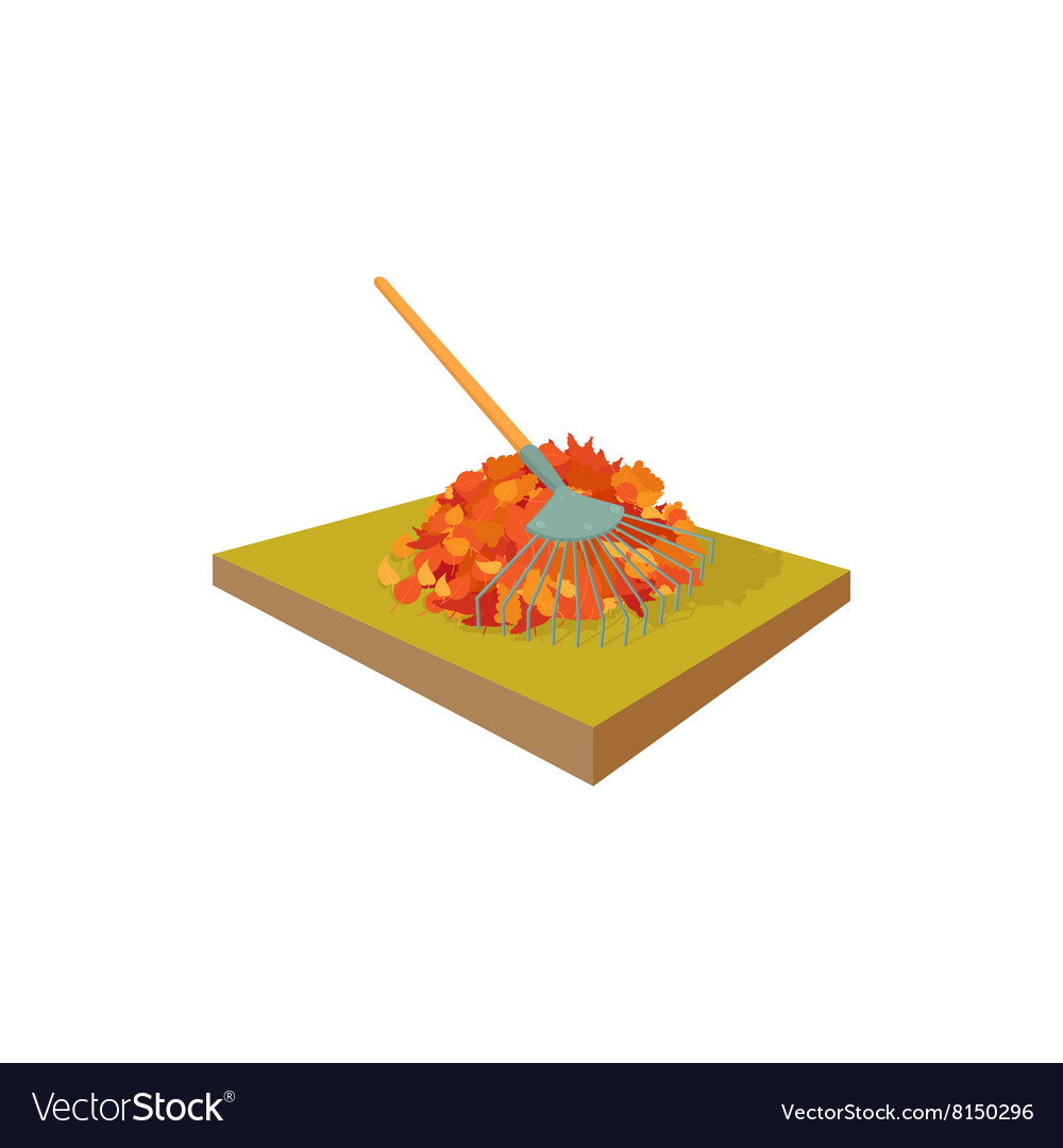 Fallen Leaves Collected In Pile And Rake Icon Vector Image