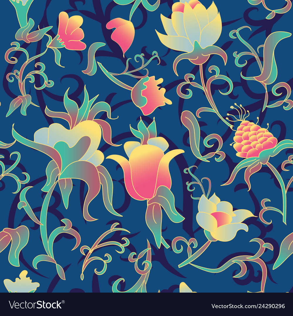 Floral Seamless Pattern Fantasy Art Deco Vector Image