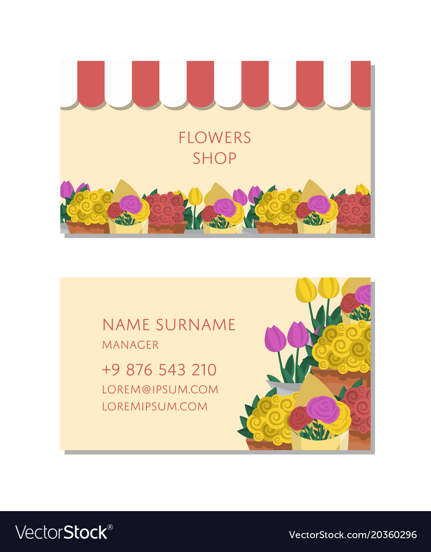 Flowers Business Card Template Vector Image