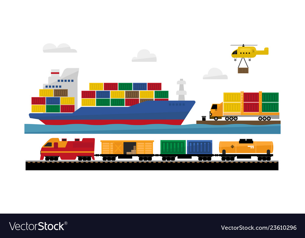 Freight transportation by train ship helicopter