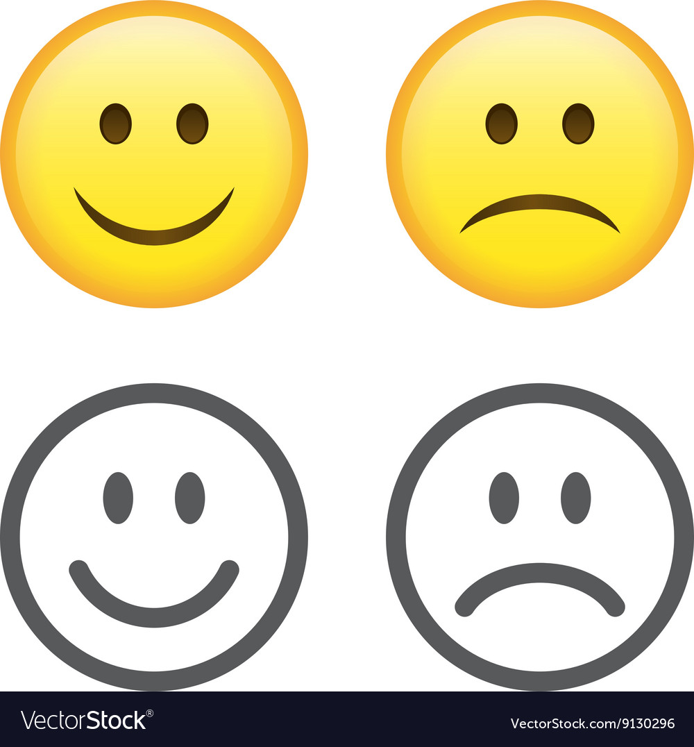 Happy and sad emoticons