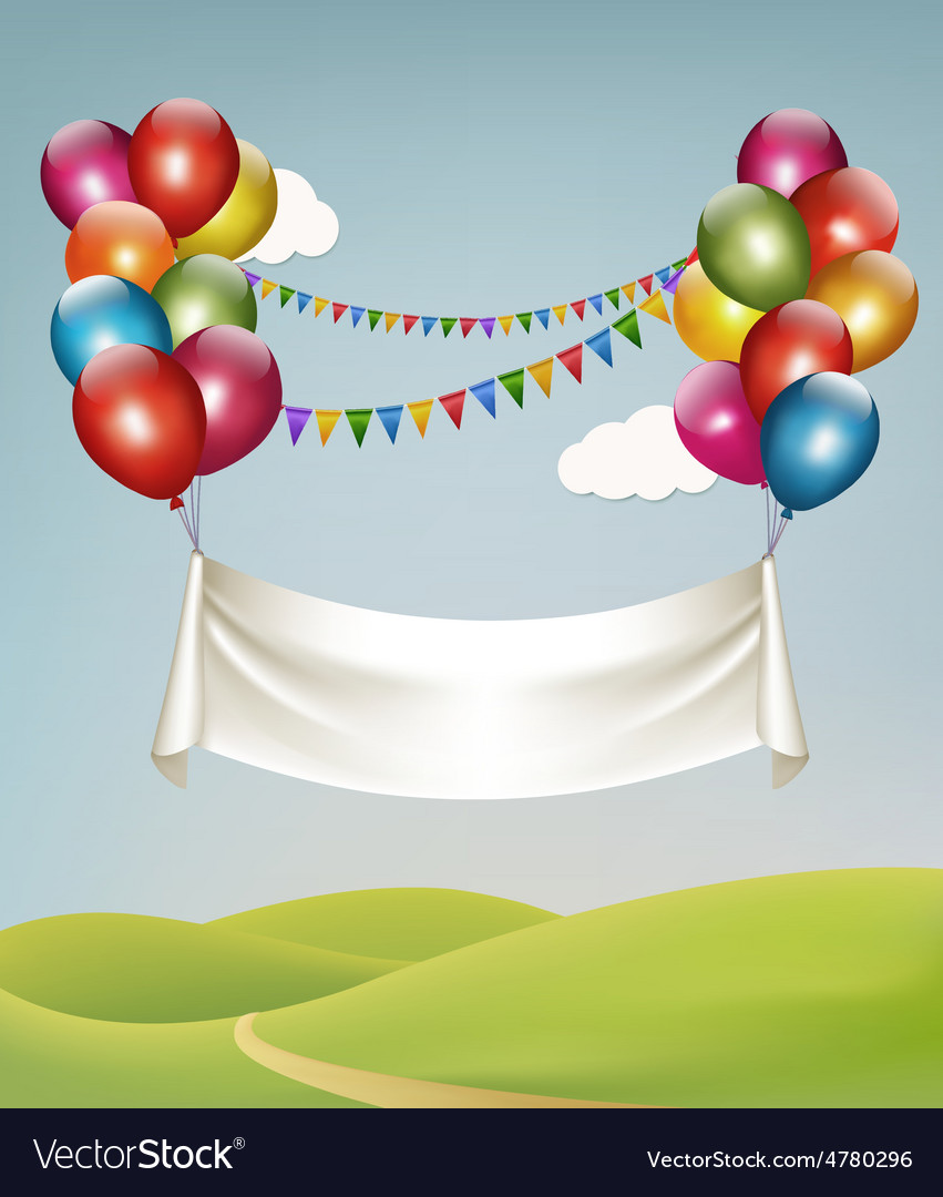 Happy birthday banner with balloons vector image