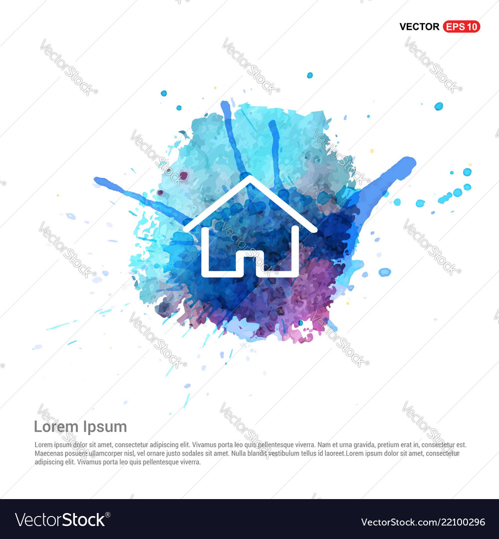 Home icon - watercolor background